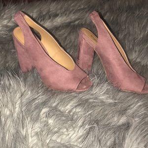 Mauve open toed pumps